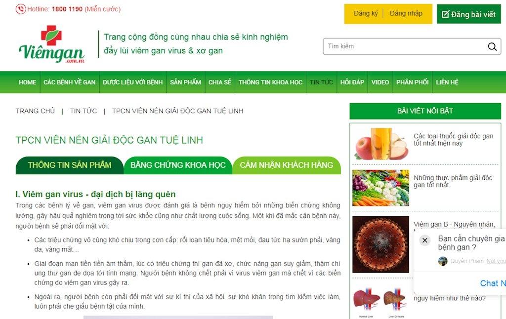 cong khai mot loat trang web vi pham ve quang cao thuc pham chuc nang