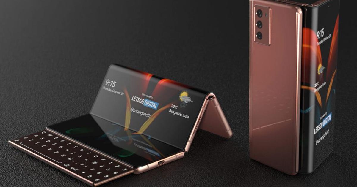 Độc đáo ý tưởng smartphone màn hình gập với bàn phím trượt của Samsung