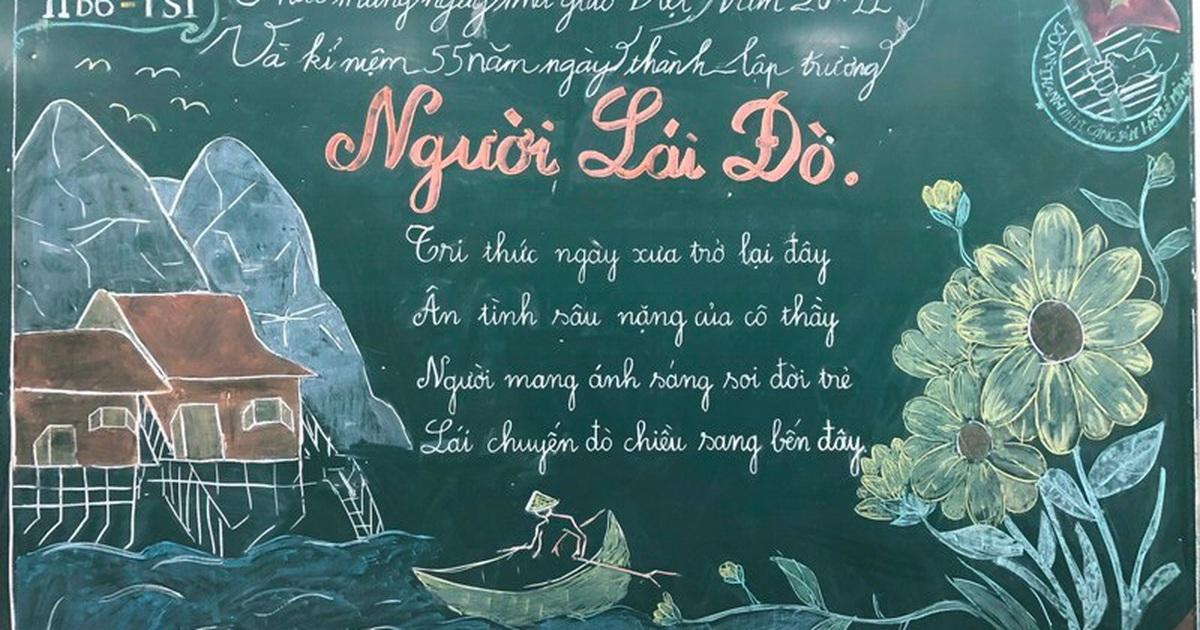 Độc đáo báo tường bằng... phấn vẽ trên bảng mừng Ngày Nhà giáo Việt Nam