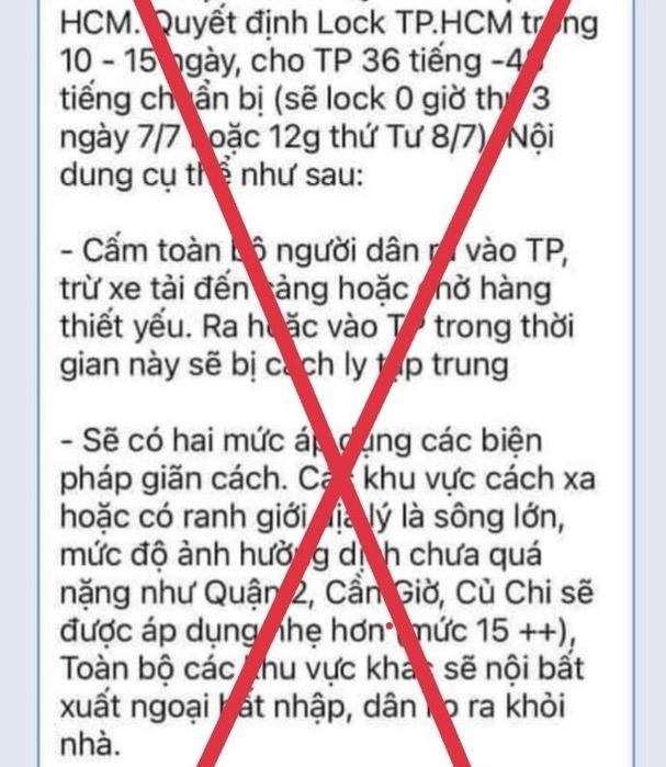 """Bác bỏ tin giả """"đóng cửa"""" TP Hồ Chí Minh 10-15 ngày"""