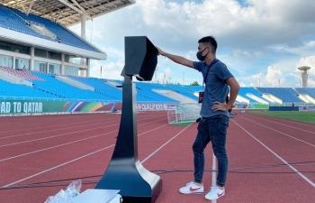 Hình ảnh công nghệ VAR vừa lắp đặt trên sân vận động Mỹ Đình