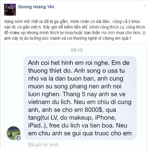 Dương Hoàng Yến bức xúc vì bị gạ tình 8.000 USD