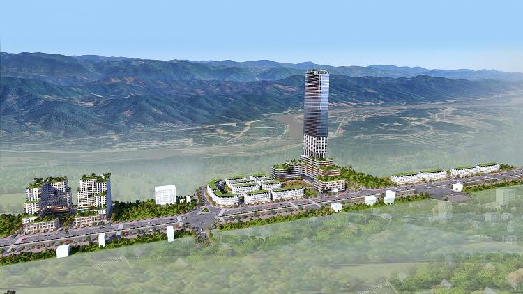 Phối cảnh tổng thể dự án xây dựng Khu nhà ở thương mại và các công trình hỗn hợp – dịch vụ, Khu đô thị mới Lào Cai - Cam Đường, thành phố Lào Cai.
