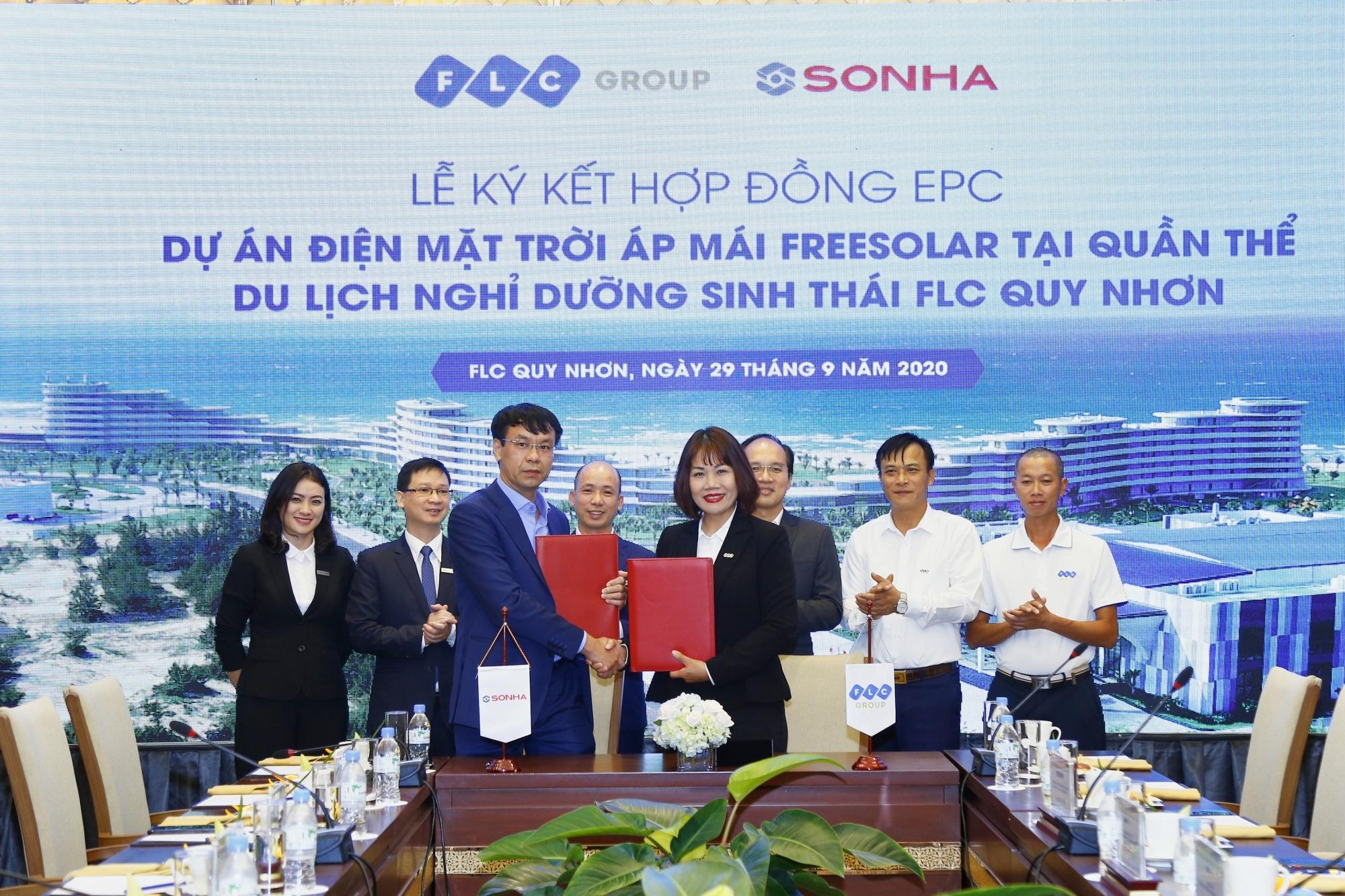 Tập đoàn Sơn Hà ký kết với Tập đoàn FLC về việc lắp đặt điện mặt trời áp mái FreeSolar tại FLC Quy Nhơn
