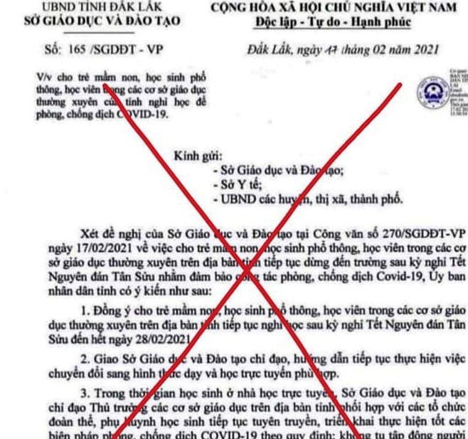 Thông tin Đắk Lắk cho học sinh nghỉ học là tin giả