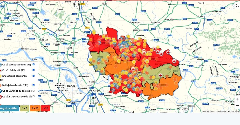 Bắc Ninh ra mắt bản đồ cập nhật tình hình dịch Covid-19