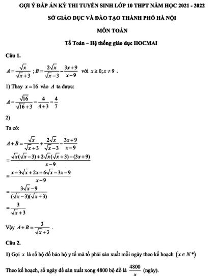 Gợi ý giải đề thi môn Toán vào lớp 10 tại Hà Nội