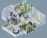 Thiết kế nội thất 3D cho chung cư mang phong cách hiện đại