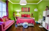 Phòng ngủ tinh tế, hiện đại với sắc hồng và xanh