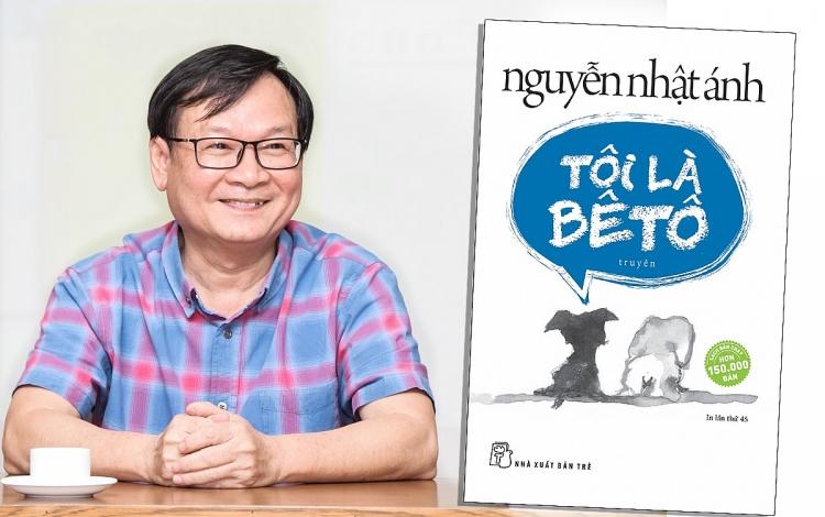 Nhà văn Nguyễn Nhật Ánh và tác phẩm Tôi là Bêtô. Ảnh: NXB Trẻ.
