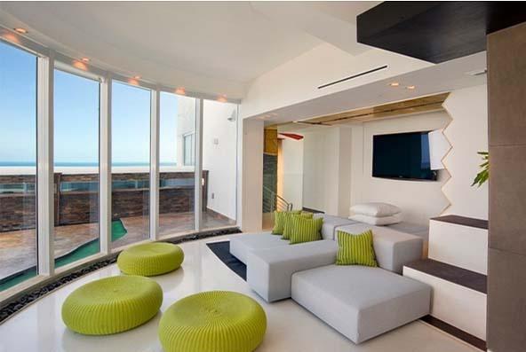 Phòng khách xinh xắn kết hợp màu xanh và xám