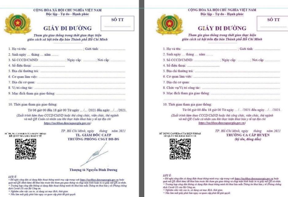 Công an và UBND TP HCM giao PC08, in, ký cấp giấy đi đường theo mẫu riêng