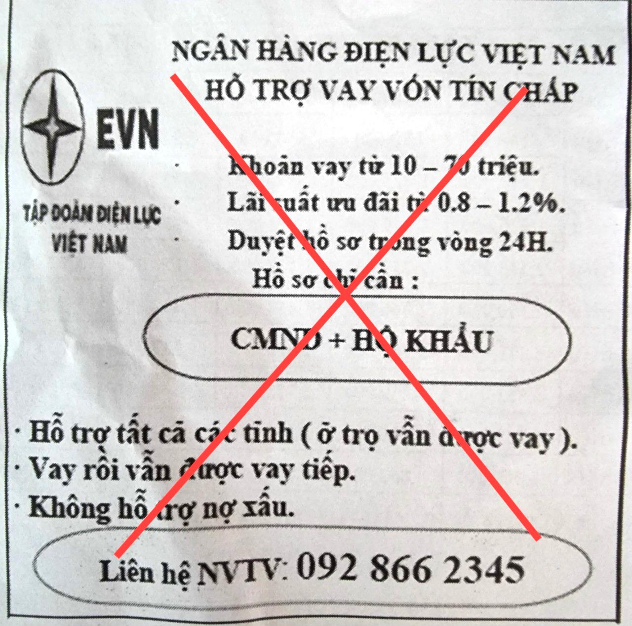 Giả mạo thương hiệu EVN để quảng cáo cho vay tín chấp