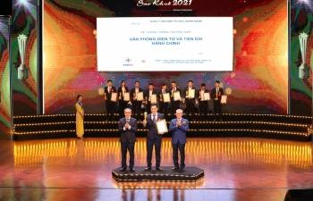Sản phẩm 'Hệ thống thông tin tích hợp văn phòng điện tử và tiện ích hành chính' của EVNICT đạt giải thưởng Sao Khuê 2021