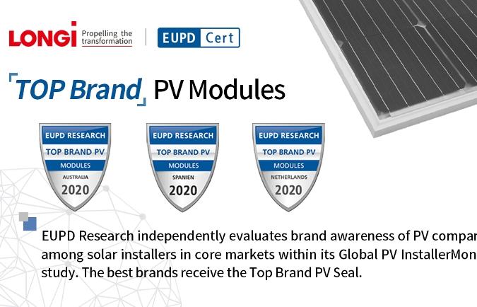 LONGi nhận giải thưởng Top Brand PV 2020 của EuPD Research