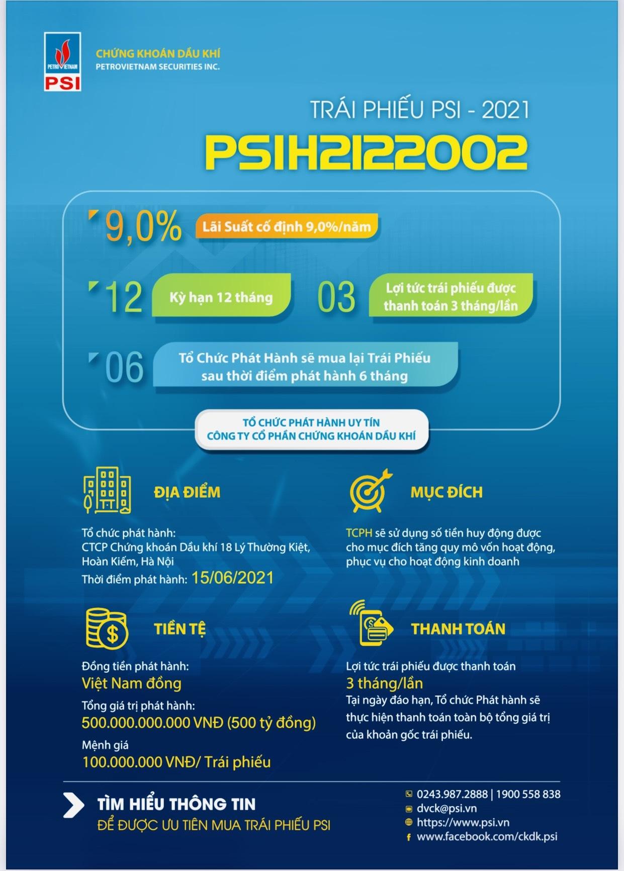 PSI phát hành 500 tỷ trái phiếu đợt 2 năm 2021
