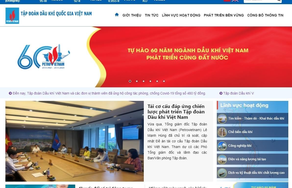 Cổng thông tin điện tử Tập đoàn Dầu khí Việt Nam ra mắt giao diện mới