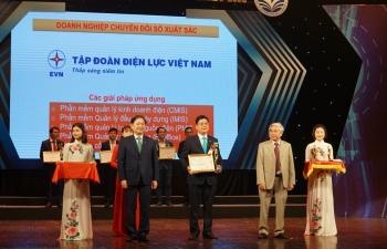 EVN cùng một số đơn vị của ngành Điện nhận giải thưởng Doanh nghiệp chuyển đổi số xuất sắc Việt Nam 2020