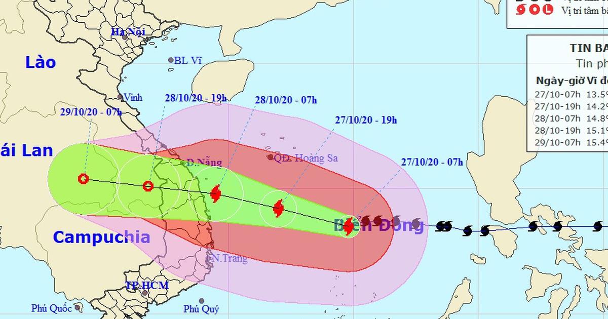 Bão số 9 tiếp tục tăng cường độ, đêm nay nhiều tỉnh miền Trung mưa to