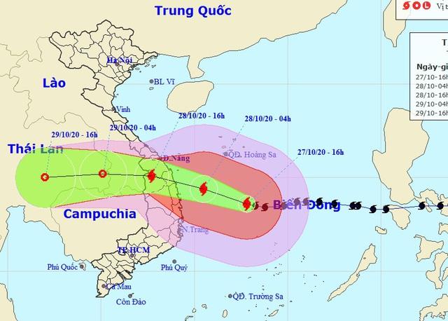 Bão số 9 vẫn giữ cường độ mạnh, hướng vào Đà Nẵng đến Phú Yên - 1