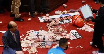 Nghị sĩ Đài Loan ném lòng lợn giữa nghị trường