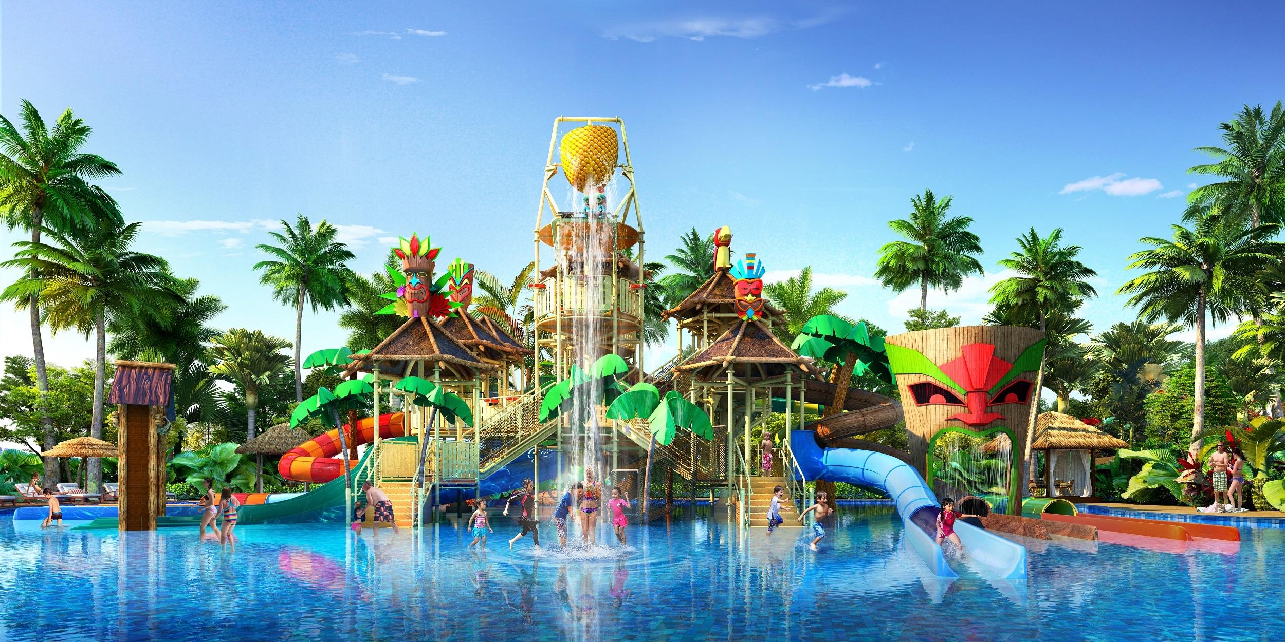 Công viên nước được trang bị hồ tạo sóng và tổ hợp các trò chơi nước liên hoàn