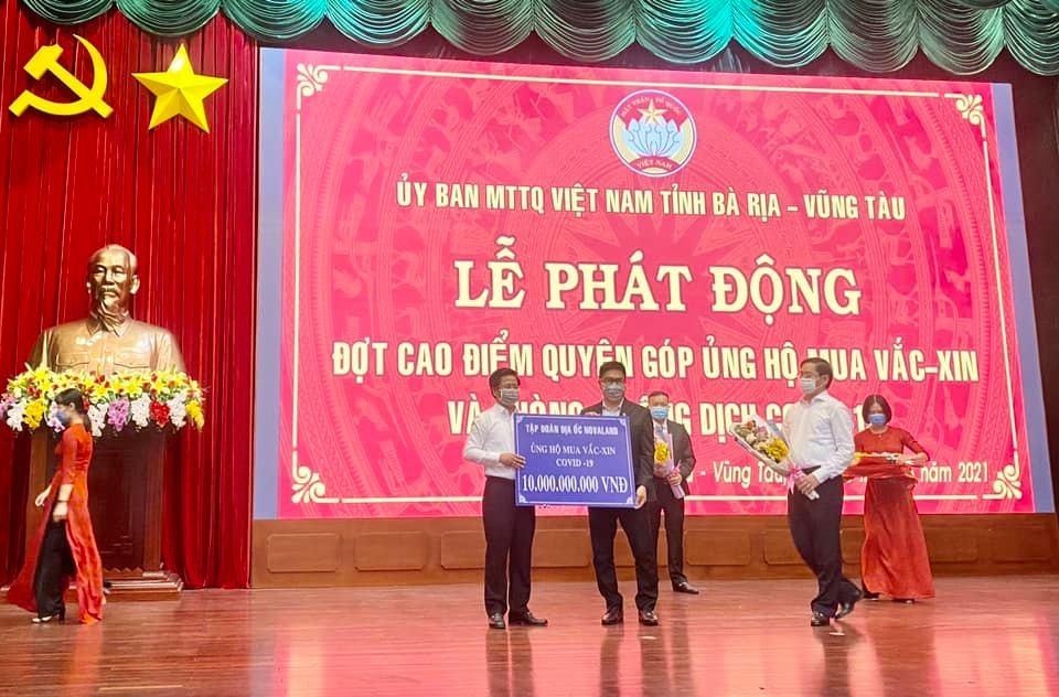 Tập đoàn Novaland ủng hộ 10 tỷ đồng cho quỹ vaccine phòng, chống dịch tỉnh Bà Rịa-Vũng Tàu.