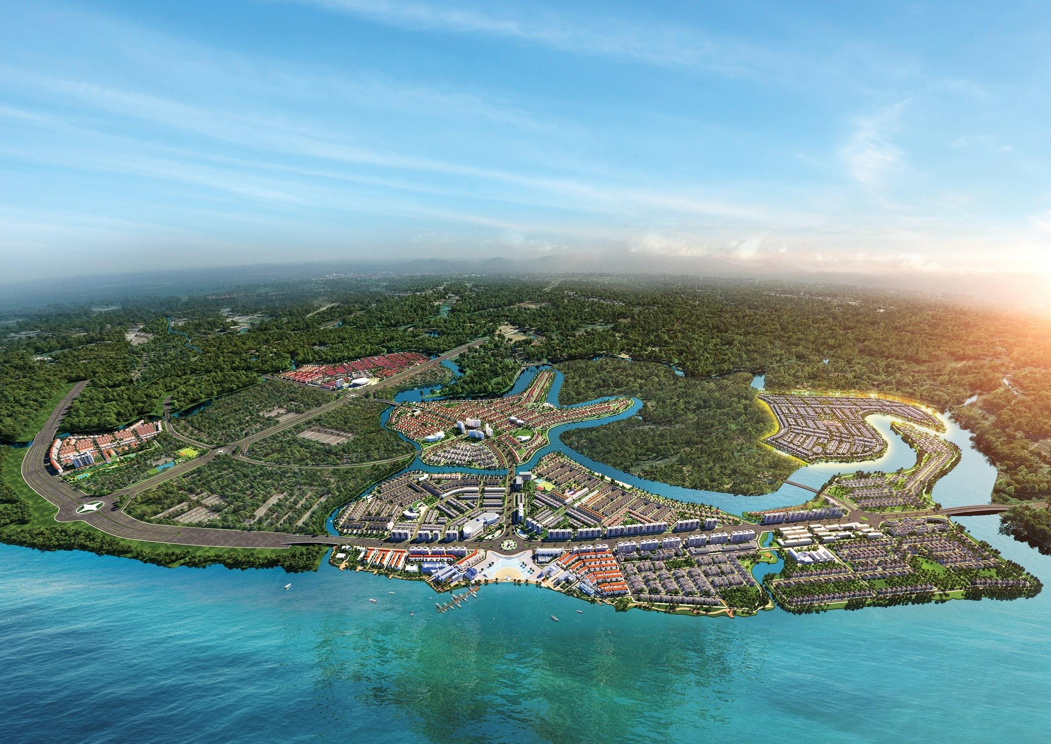 Thừa hưởng lợi thế thiên nhiên hiếm có ba mặt giáp sông, Aqua City được quy hoạch bài bản theo mô hình sinh thái cùng chuỗi tiện ích đẳng cấp