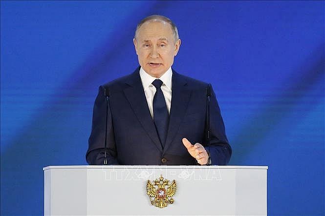 Tổng thống Nga Vladimir Putin đọc Thông điệp Liên bang thứ 27 tại Moskva ngày 21/4/2021.