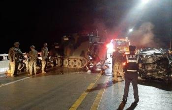Xe bọc thép Mỹ gặp nạn khi trở về căn cứ tại Hàn Quốc
