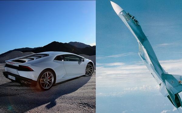 Xem Lamborghini Huracan đua tốc độ cùng Su-27