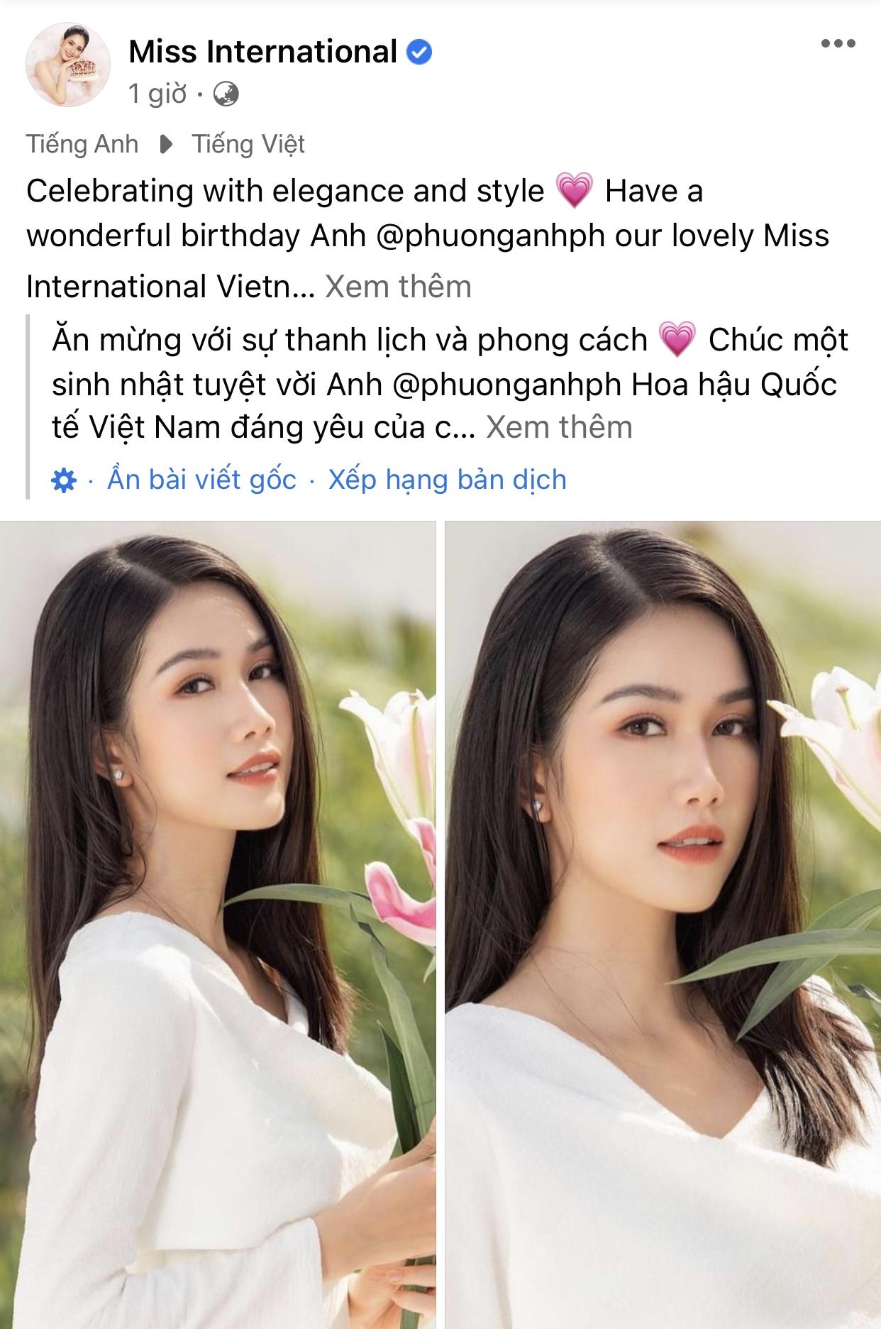 Á hậu IELTS 8.0 Phương Anh được Miss International chúc mừng sinh nhật
