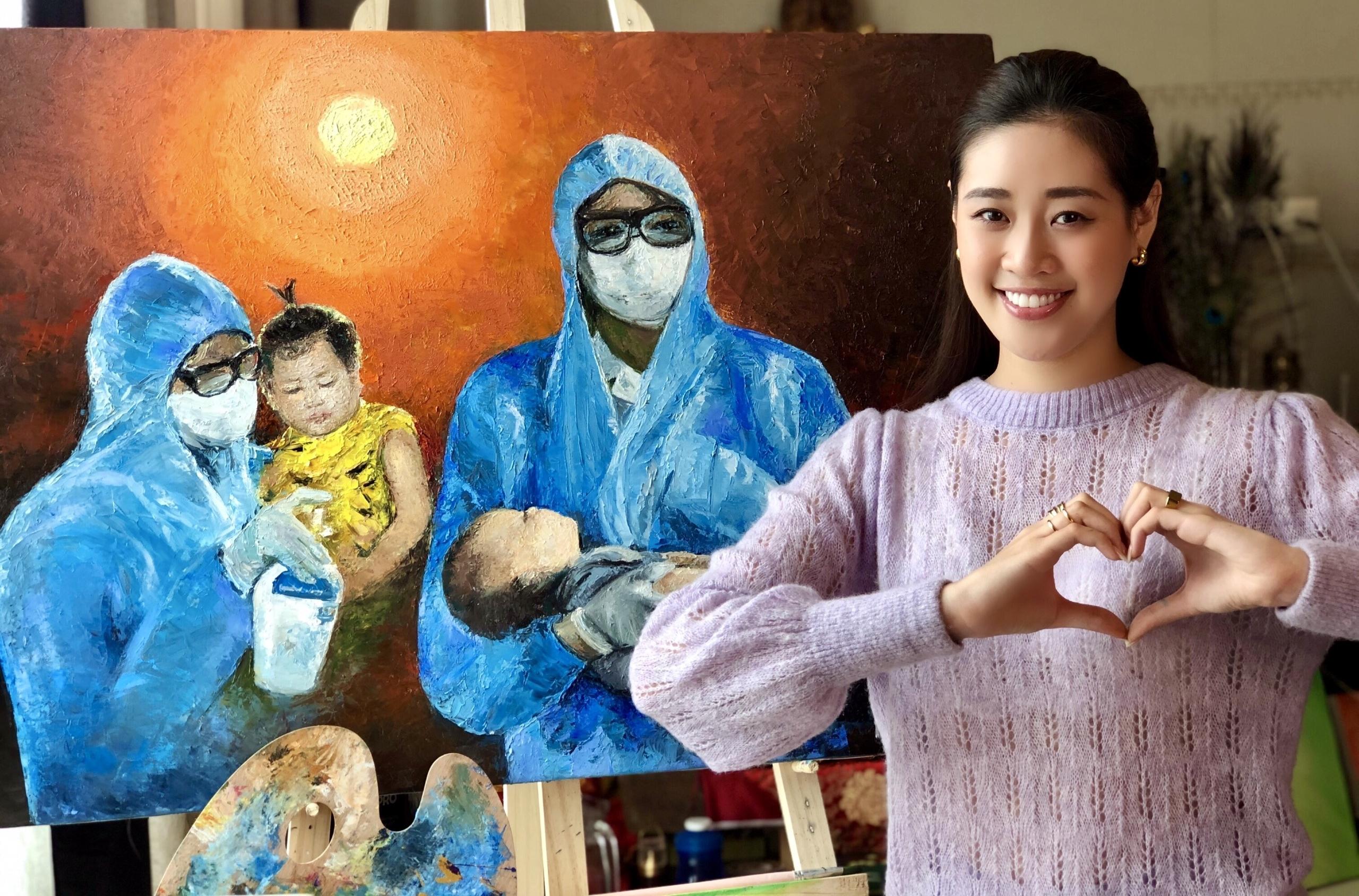Hoa hậu Khánh Vân đấu giá tranh tự vẽ để ủng hộ chống dịch Covid-19